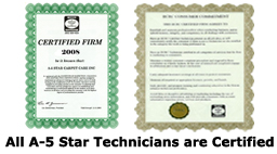 A5 Star Carpet Care Certified Technicians
